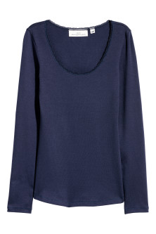 Lace-trimmed jersey top