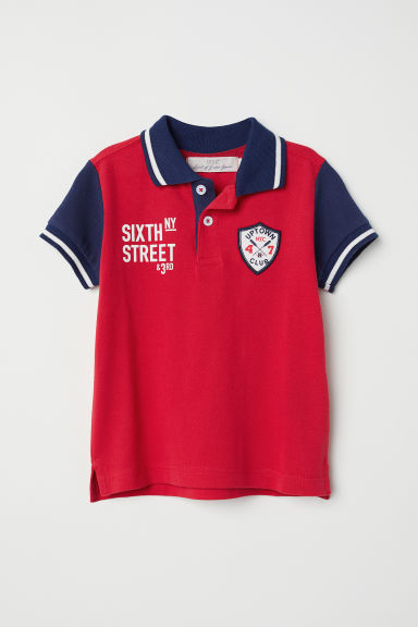 Polo shirt with appliqués - Red/Dark blue - Kids | H&M CN