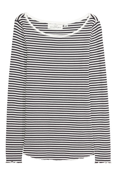 Jersey top - White/Black striped - Ladies | H&M CN