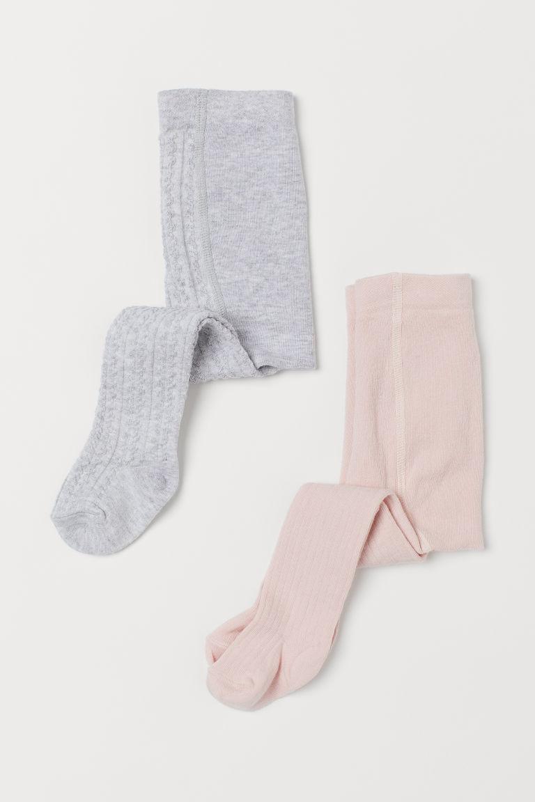 2-pack fine-knit tights - Powder pink/Light grey marl - Kids | H&M GB