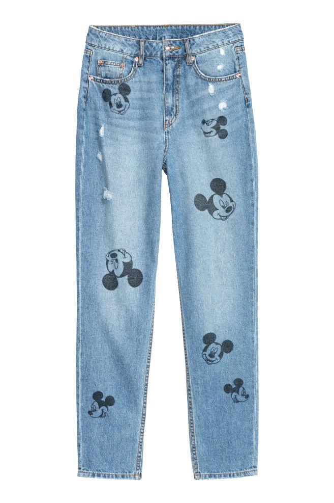 Slim Mom Jeans - Denim blue/Mickey Mouse - Ladies   H&M IN 3