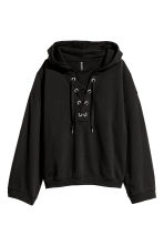Hooded top with lacing - Black - Ladies | H&M IE 2