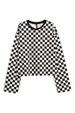 Long-sleeved jersey top - Black/White checked - Ladies | H&M GB 2