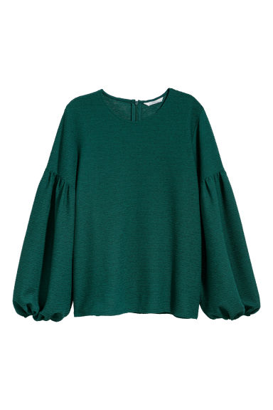 Balloon-sleeved top - Emerald green - Ladies | H&M IE