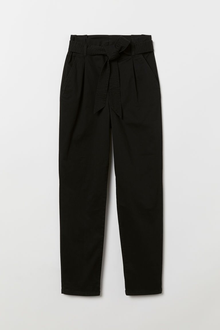 Paper bag trousers - Black -  | H&M GB