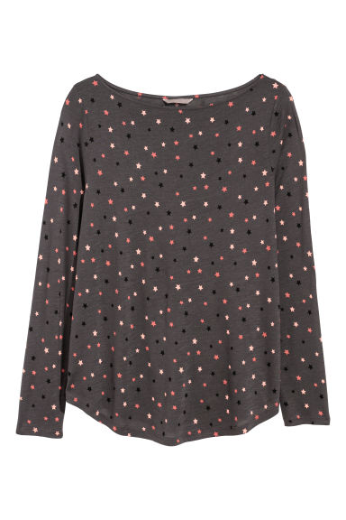 H&M+ Long-sleeved top - Dark grey/Stars - Ladies | H&M CN