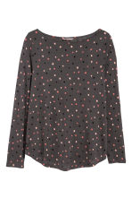 H&M+ Long-sleeved top - Dark grey/Stars - Ladies | H&M IE 1