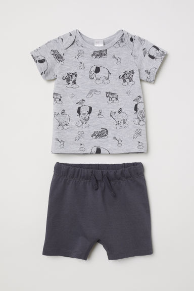 T-shirt and shorts - Grey/Snoopy - Kids | H&M CN