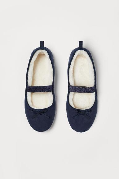 Pile-lined ballet slippers - Dark blue - Kids   H&M GB