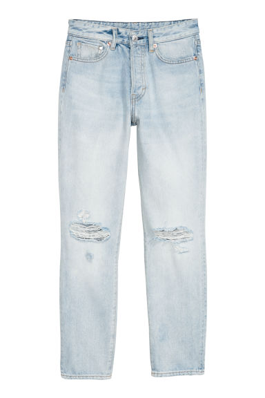Vintage High Cropped Jeans - Light blue/Trashed - Ladies | H&M