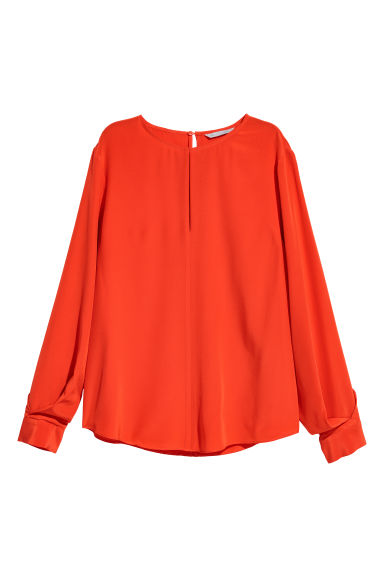Silk blouse - Orange-red -  | H&M CN