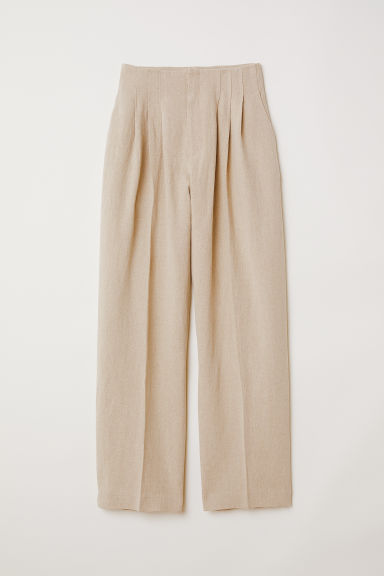 Wide linen trousers - Light beige -  | H&M