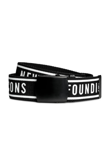 Fabric belt with a text print - Black - Men | H&M