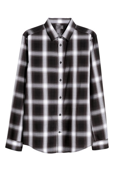 Lyocell shirt Slim fit - Black/Checked - Men | H&M