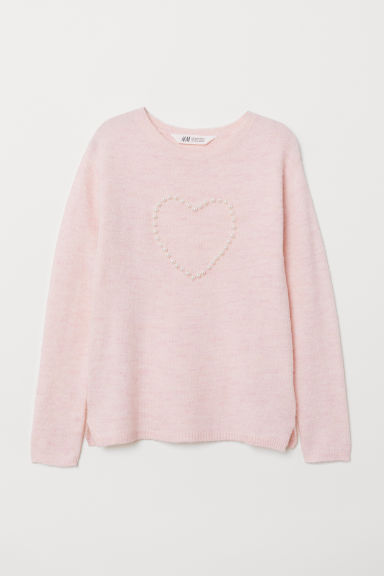 Knitted jumper with a motif - Powder pink/Heart - Kids | H&M GB