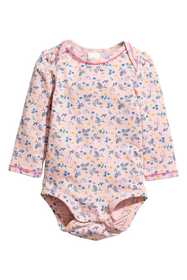 Cotton bodysuit - Powder pink/Floral - Kids | H&M CN