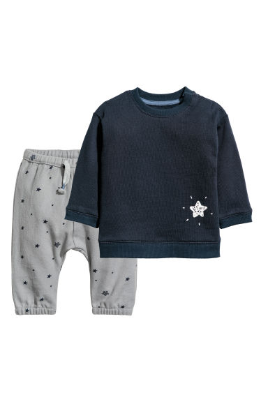Cotton top and trousers - Dark blue/Grey - Kids | H&M CN