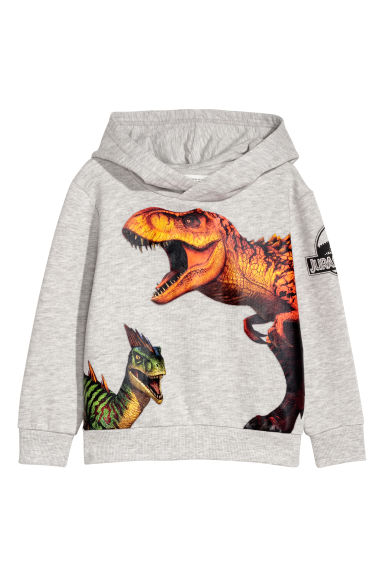 Printed hooded top - Grey/Jurassic World -  | H&M IE