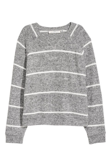 Fine-knit jumper - Grey marl/Striped -  | H&M