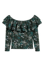 Off-the-shouldertop - Groen/bloemen - DAMES | H&M NL 2