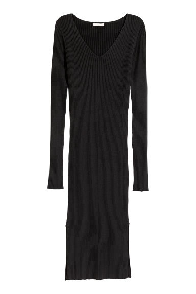 Ribbed dress - Black -  | H&M GB