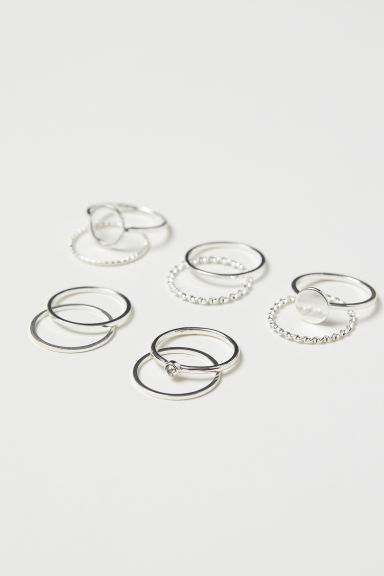 10-pack rings - Silver-coloured - Ladies | H&M IE