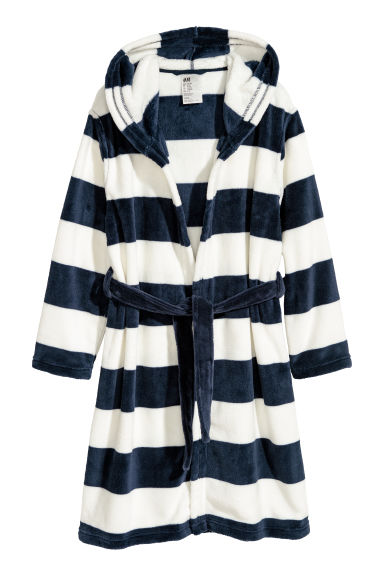 Fleece dressing gown - Dark blue/White striped - Kids | H&M