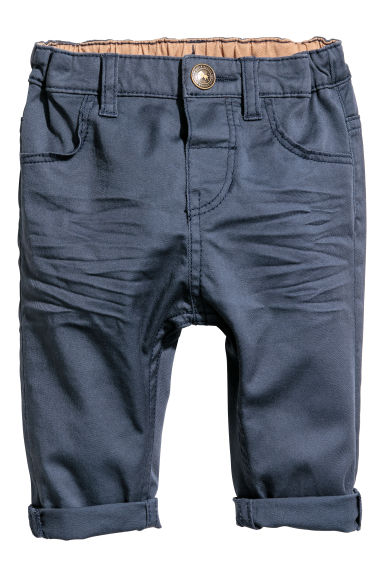 Cotton twill trousers - Dark blue -  | H&M CN