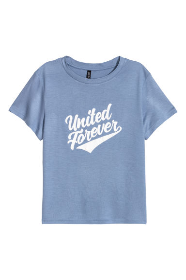 Printed jersey top - Blue/United Forever - Ladies | H&M