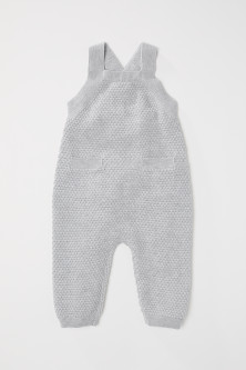 Textured-knit Bib Overalls