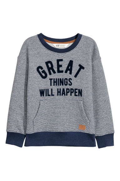 Printed sweatshirt - Dark blue/Great things - Kids | H&M CN 1