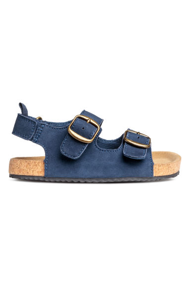 Strappy leather sandals - Dark blue - Kids | H&M CN