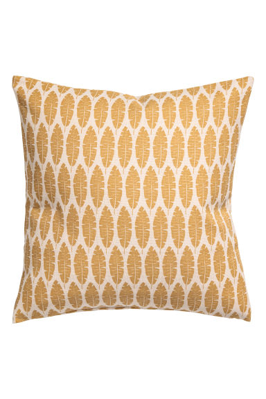 Leaf-print cushion cover - Yellow/Natural white -  | H&M GB
