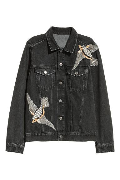 Denim jacket with sparkles - Black/Washed out - Ladies | H&M GB