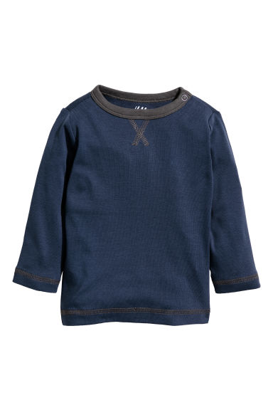 Tricot top - Donkerblauw - KINDEREN | H&M NL