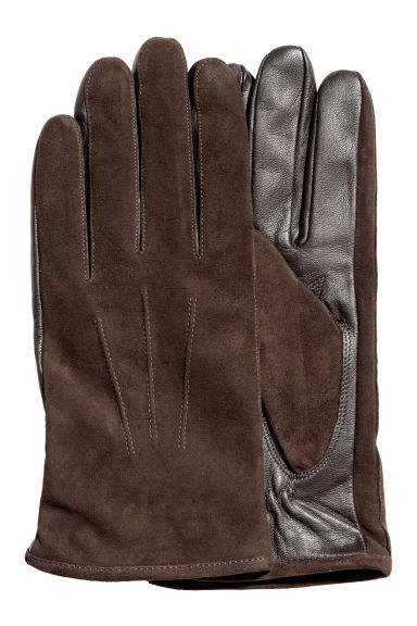 Suede gloves - Dark brown -  | H&M CN