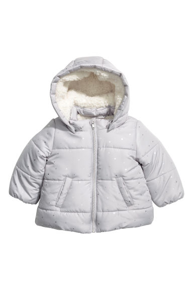 Padded jacket with a hood - Light grey/Stars -  | H&M CN 1