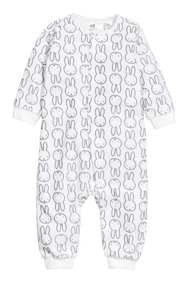 Velour all-in-one pyjamas - Natural white/Miffy - Kids | H&M