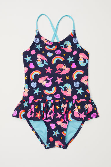 Swimsuit with a frill - Dark blue - Kids | H&M CN