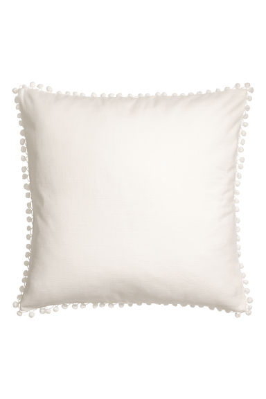 Pompom-trimmed cushion cover - White - Home All | H&M CN
