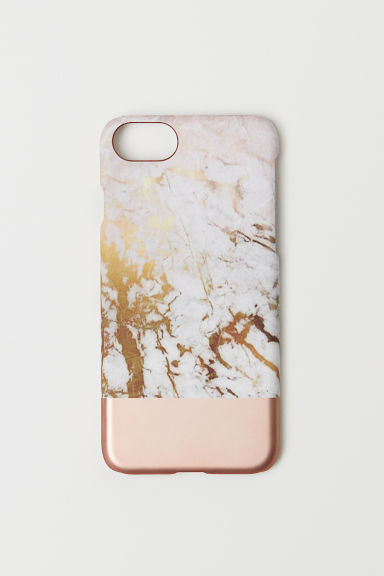 iPhone 6/7 case - Powder pink/Marble-patterned - Ladies | H&M