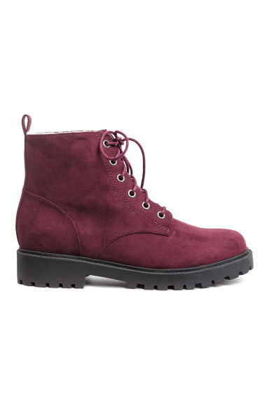 Pile-lined boots - Burgundy - Ladies | H&M
