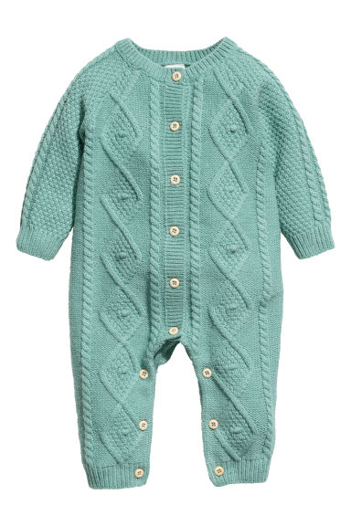 Cable-knit romper - Turquoise -  | H&M GB