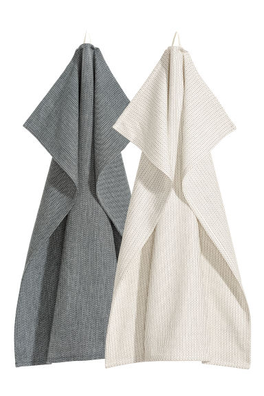 2-pack tea towels - Anthracite grey -  | H&M IE