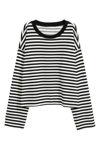 Wide cotton top - Black/White striped - Ladies | H&M