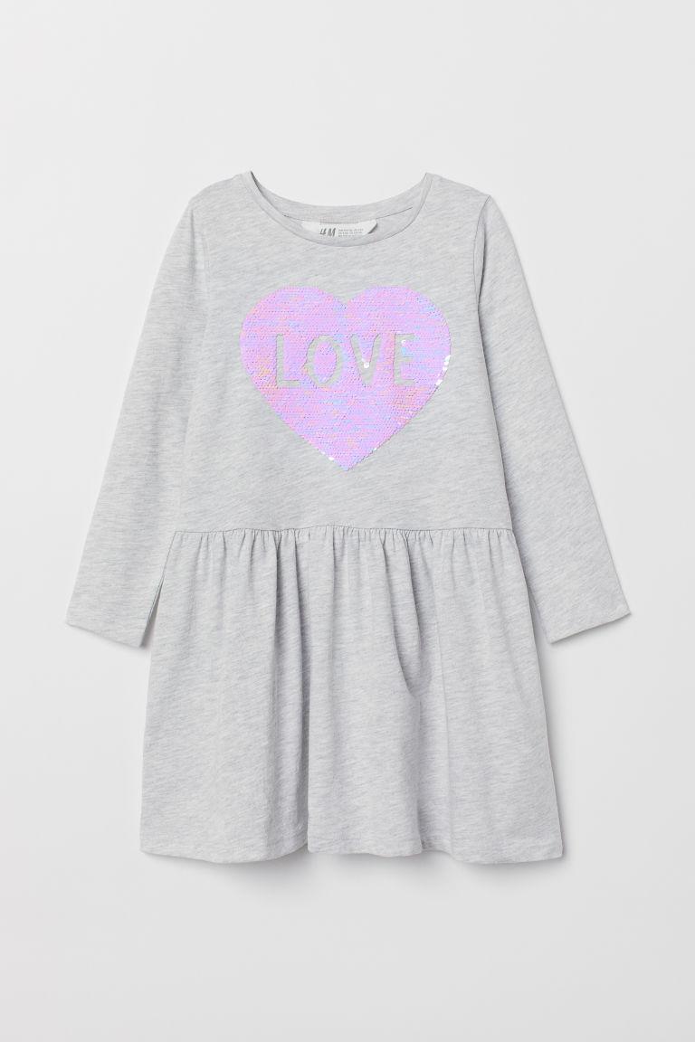 Dress with sequins - Light grey marl/Love - Kids | H&M GB