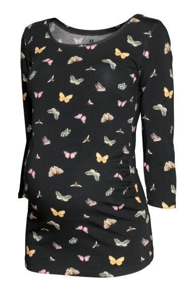 MAMA Jersey top - Black/Butterfly - Ladies | H&M CN