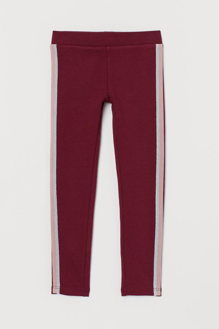 Leggings with brushed inside - Dark red/Glittery - Kids   H&M GB