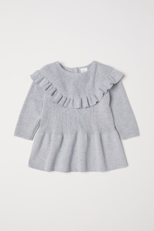 Fine-knit Flounced Dress