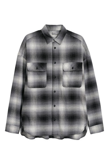 Oversized cotton shirt - Grey/Checked -  | H&M